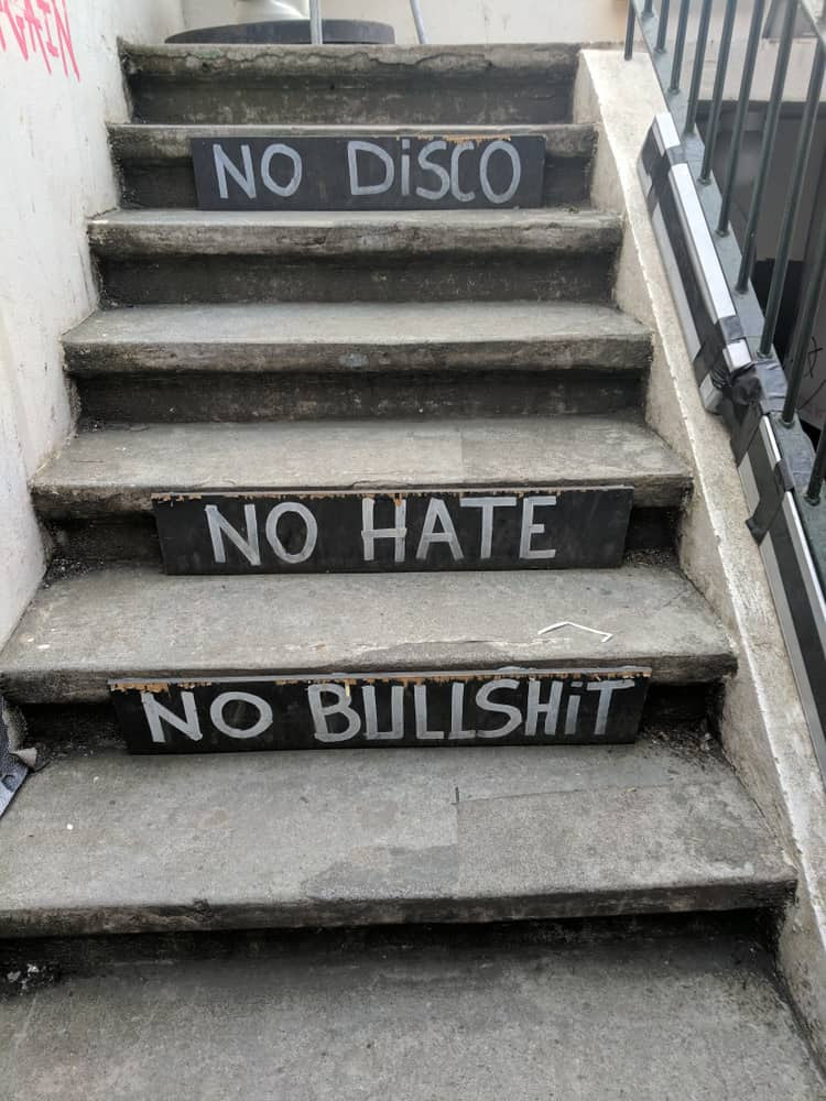 Iceland - Reykjavik - Staircase in Reykjavik at the Icelandic Punk Museum - No Disco, No Hate, No Bullshit
