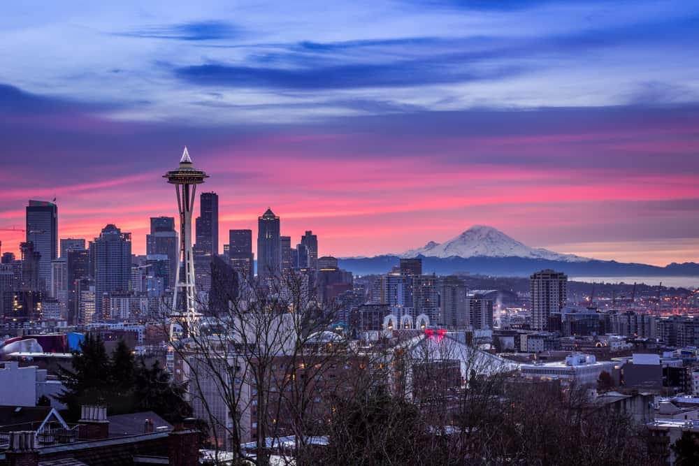 USA - Washington - Seattle - A beautiful view of the city of Seattle, USA underneath the breathtaking colorful sky