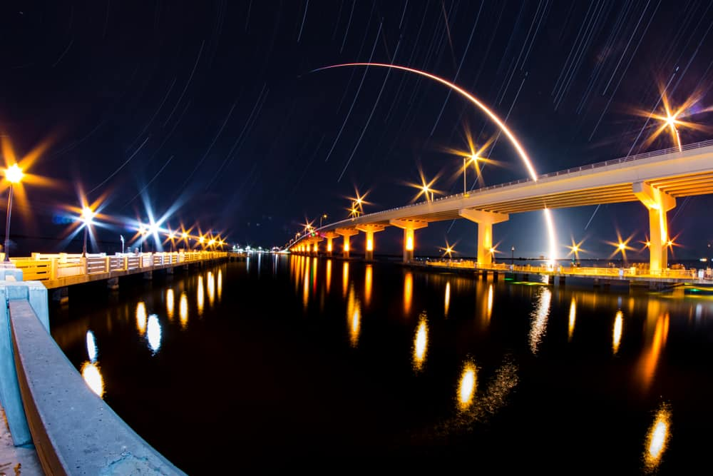 Long exposure shot of a rocket launch from the Space Coast of Florida. Seen from Titusville.