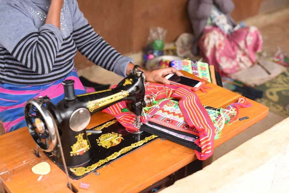 Hand embroidered Lahu hill tribe textile bag, Myanmar, Shan State
