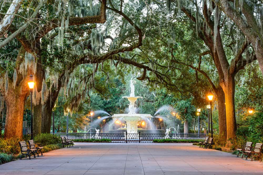 USA - Georgia - Savannah - Savannah, Georgia, USA at Forsyth Park Fountain.