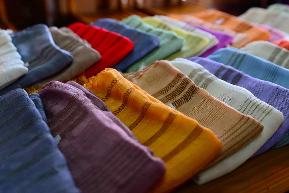 Traditional clothes made from silk are sold in Inle lake, Myanmar