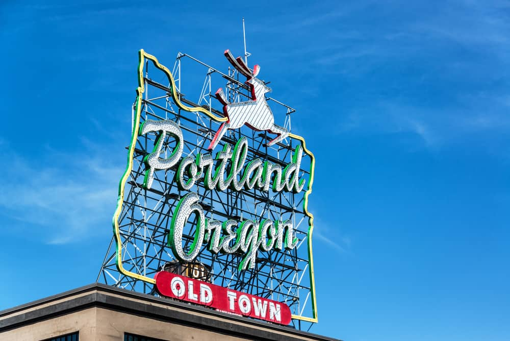 USA - Oregon - Iconic Portland, Oregon Old Town sign with an outline of Oregon and a stag