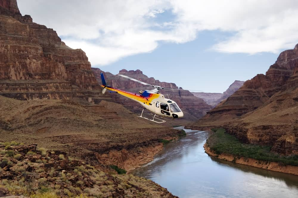 USA - Arizona - Ride of your life. Chopper flying over Grand Canyon, West Rim. Colorado river, Arizona, USA.