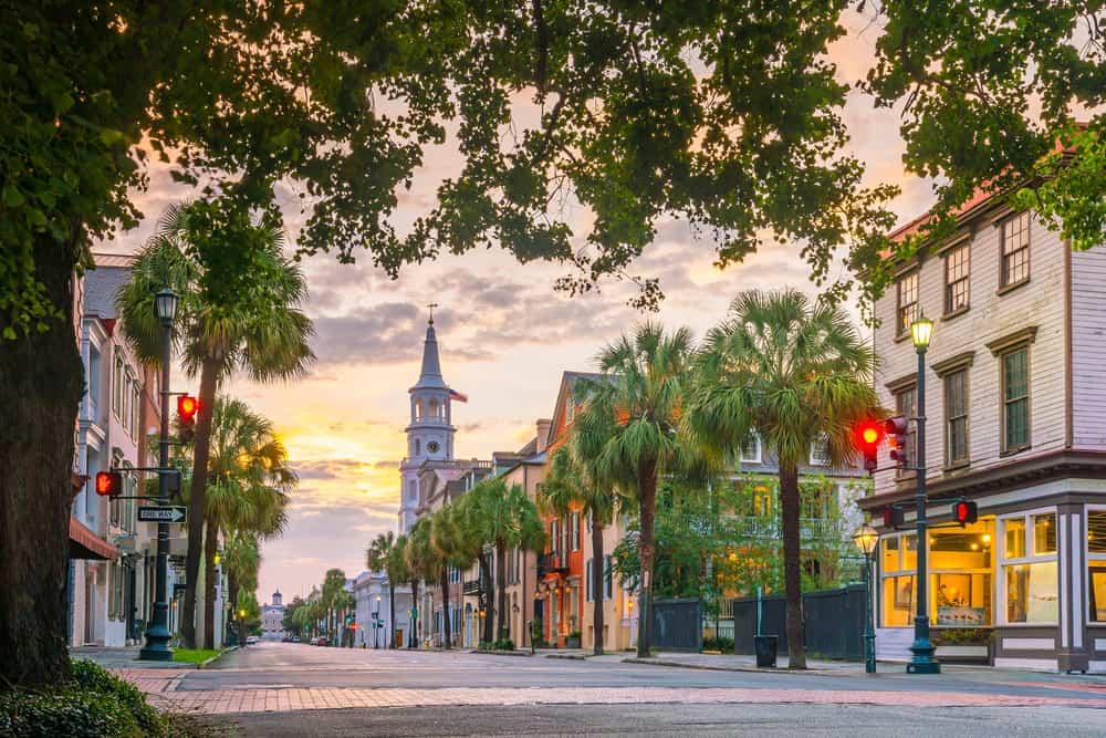 USA - South Carolina - Historical downtown area of Charleston, South Carolina, USA at twilight.