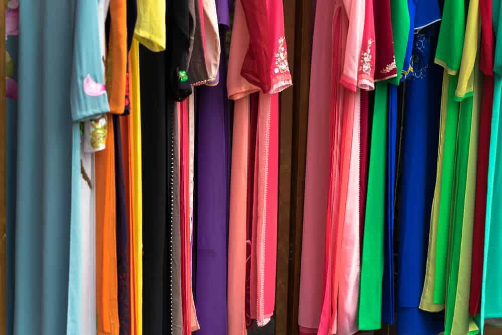 Vietnamese traditional long dress Ao Dai closeup