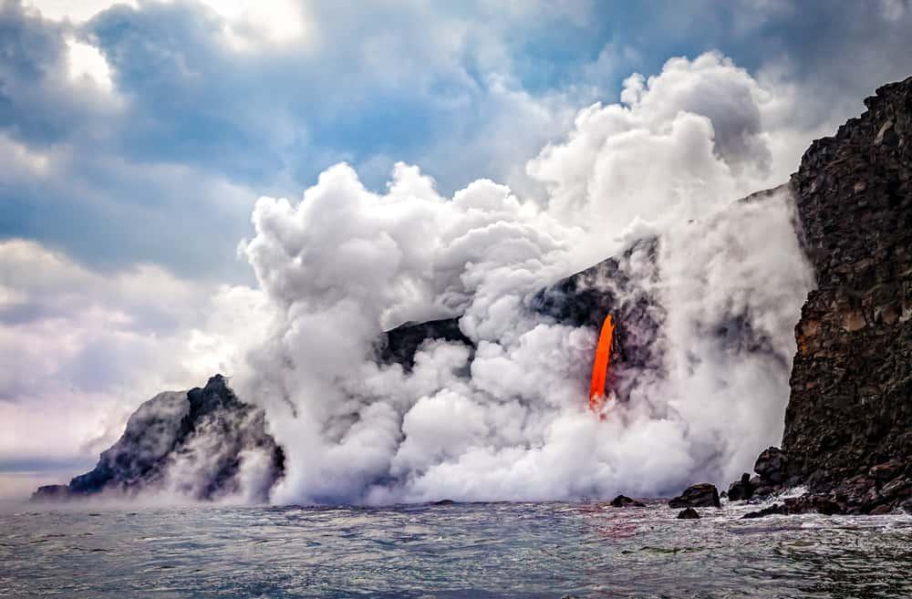 USA - Hawaii - Wide shot of the Kamokuna ocean entry in Hawaii's Volcano National Park