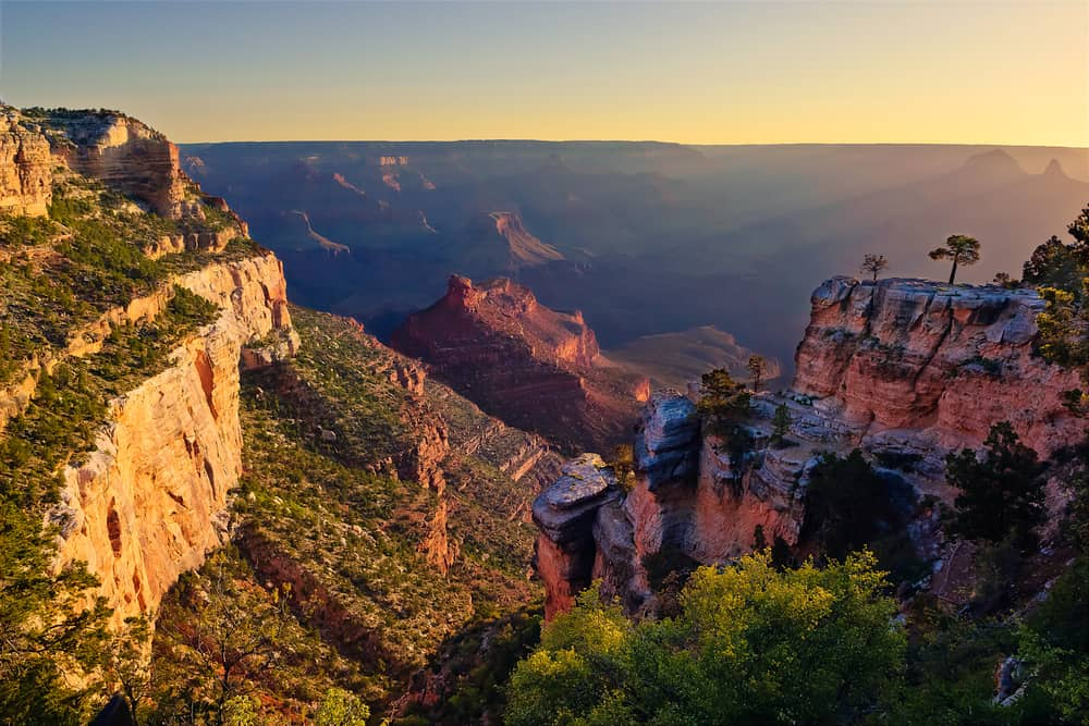 USA - Arizona - An early morning view of the Grand Canyon from a vista behind the Hermit Road Transfer Station on the South Rim.
