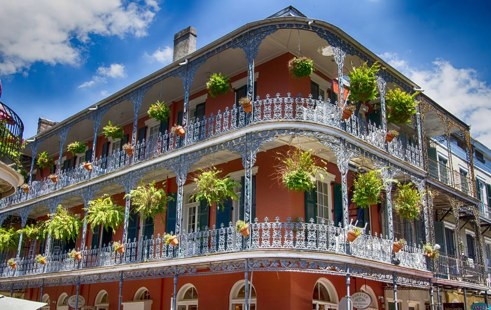 USA - Louisiana - Old New Orleans Building with Balconies