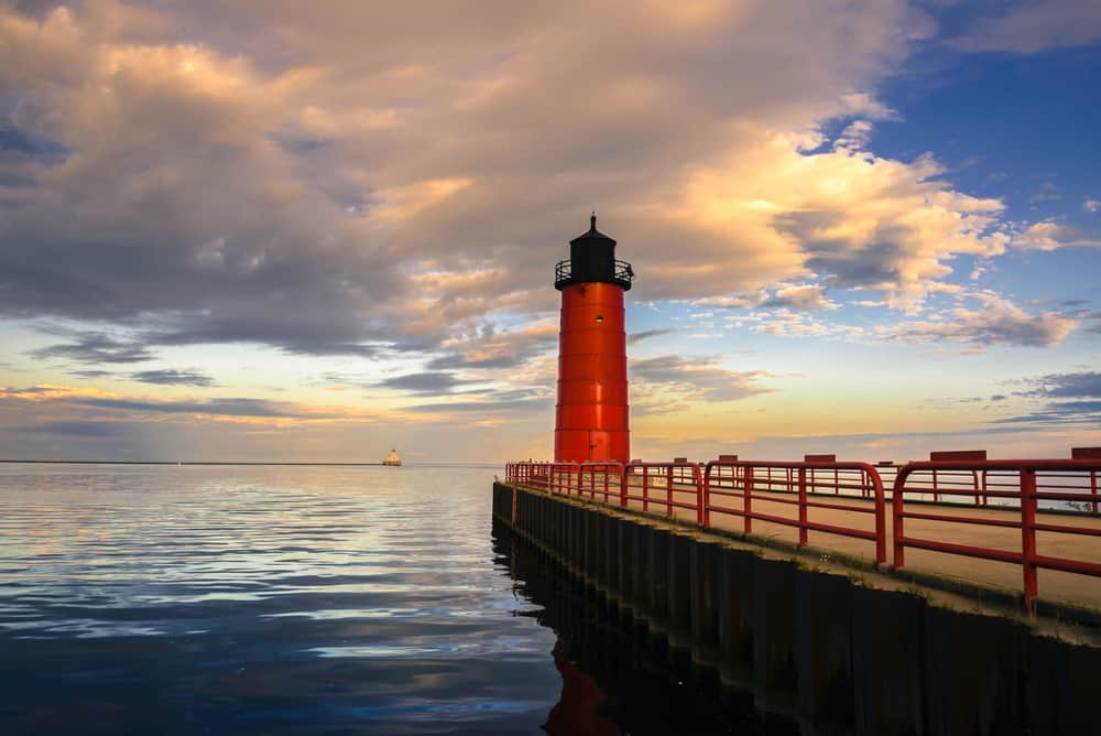 USA - Wisconsin - Milwaukee Red lighthouse at sunset on Lake Michigan in Milwaukee, WI