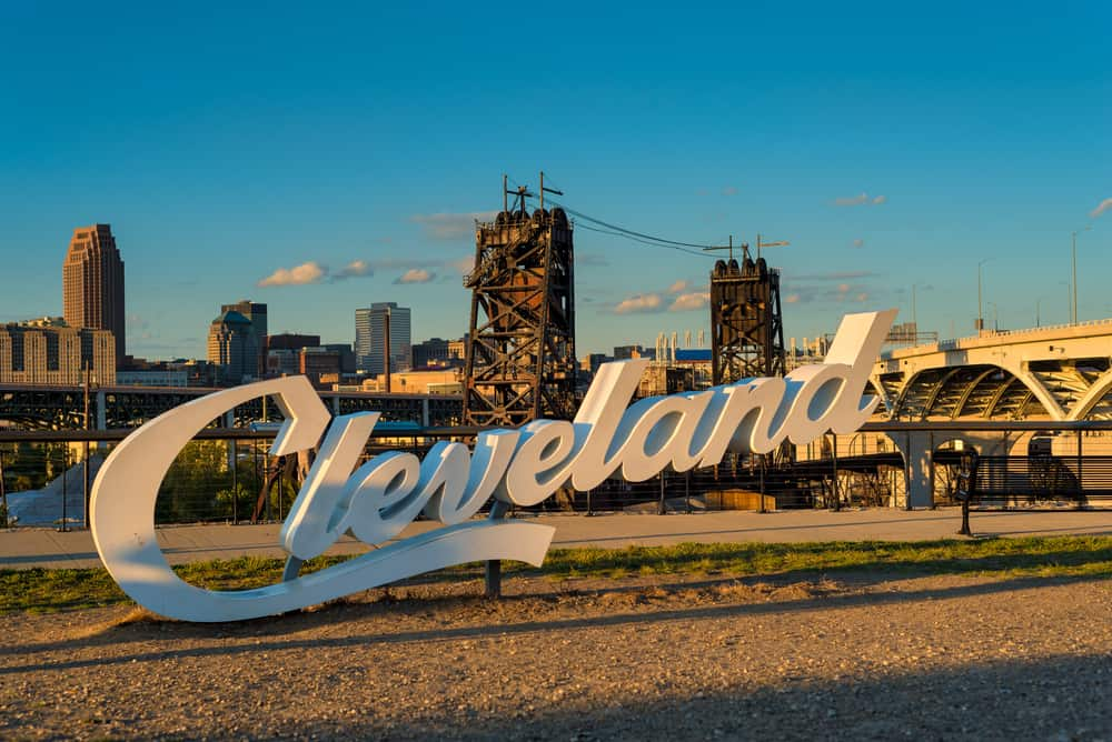 USA - Ohio - Cleveland - A Cleveland sign, one of three in the city, overlooking downtown from the near west side