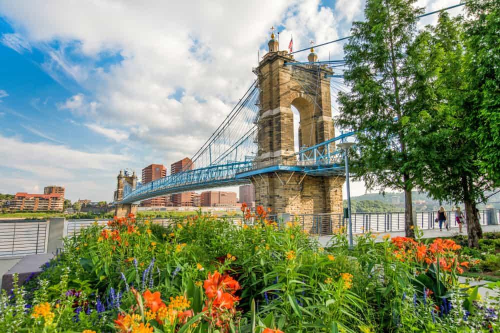 USA - Ohio - Smale Riverfront Park in Cincinnati, Ohio next to the John A Roebling Suspension Bridge