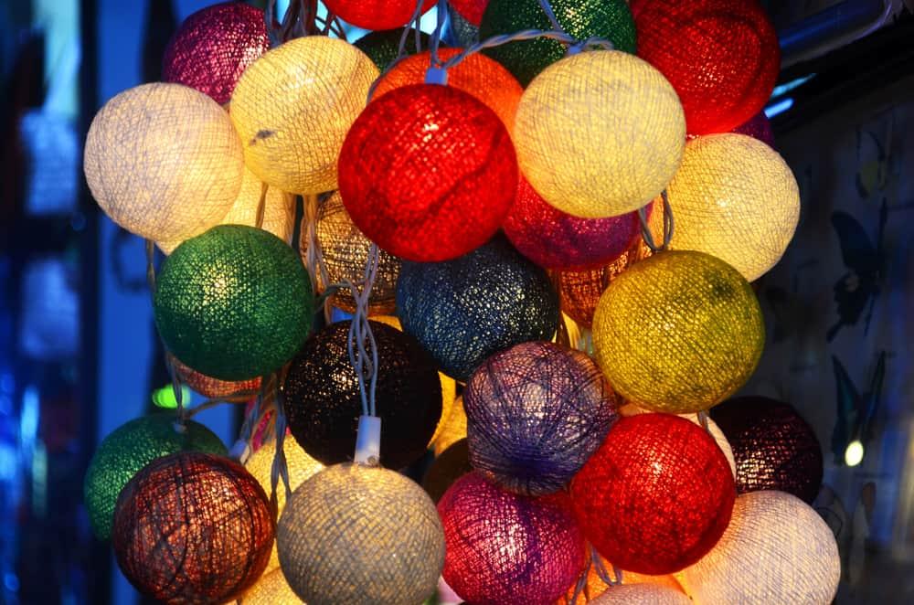 Cambodia - Phnom Penh - Colorful lights on the Russian market in Phnom Penh Cambodia.