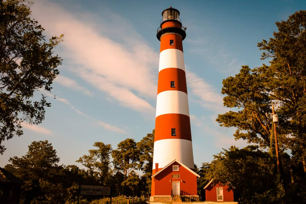 Landscape view of the lighthouse on Assateague Island Virginia