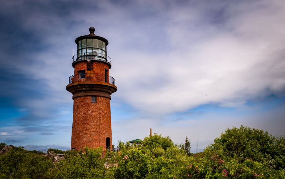 Aquinnah, Massachusetts, USA -5th of July 2016. Gay Head Light Historic lighthouse in Aquinnah on Martha's Vineyard sits on a hilltop. First in the U.S. to receive a first order Fresnel lens in 1856.