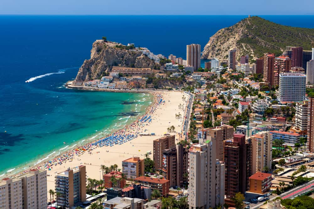 Poniente largest beach in Benidorm Spain