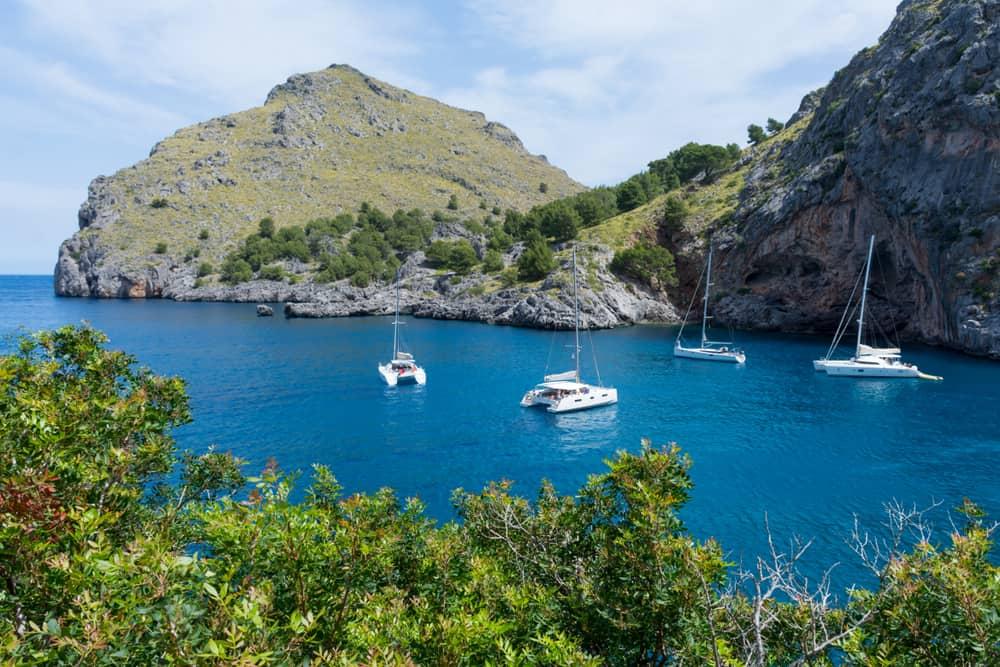 Yachts in the Bay of Sa Colobra in Mallorca