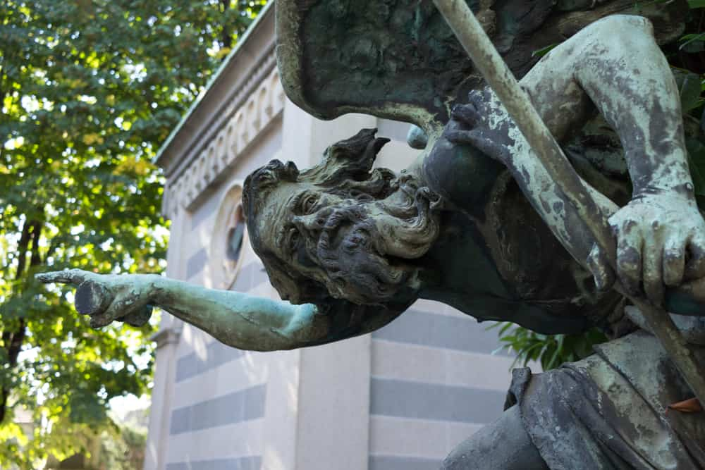 Sculpture carved in the old Monumental Cemetery in Milan