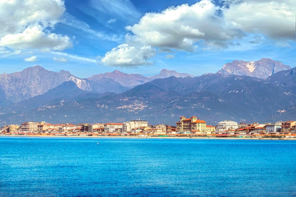 Viareggio seafront, beach and sea in winter and Apuan Alps mountains, Versilia, Lucca Tuscany, Italy Europe.