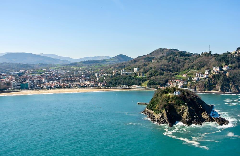 View of the bay of San Sebastian in Spain