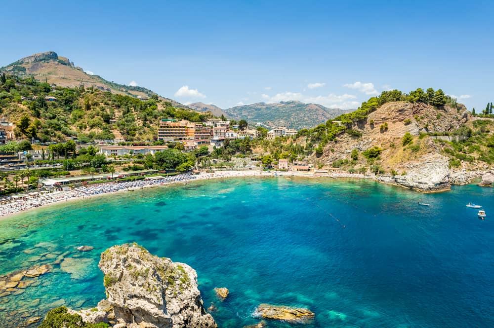 Isola Bella rocky island in Taormina, Sicily