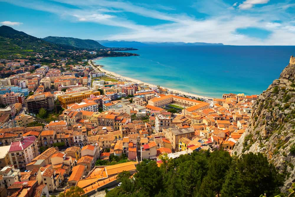 aerial view of town Cefalu from above, Sicily, Italy