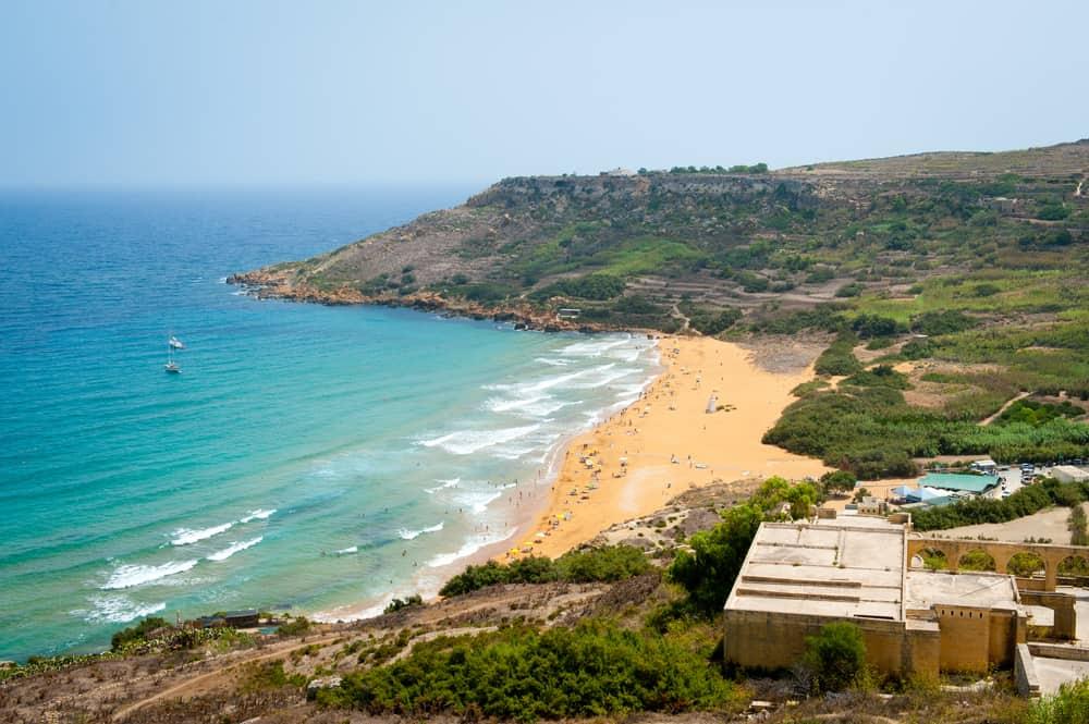 Ramla bay beach in Gozo island, Malta. View from the hill