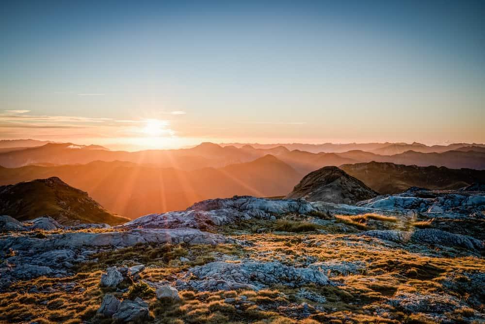 Sunset from Mt. Owen, Kahurangi National Park, New Zealand.