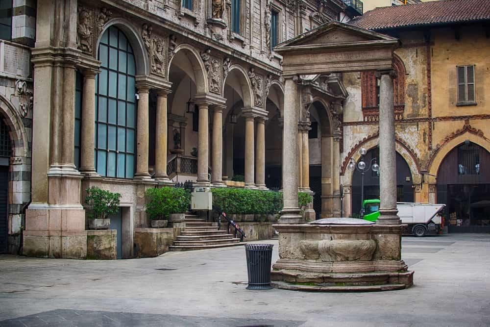 Italy. Milan. Merchants square. In italian called piazza dei mercanti.