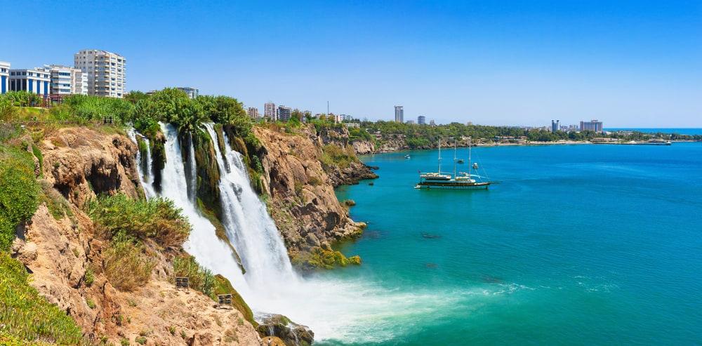 Lower Duden waterfall (Karpuzkald?ran waterfall). Lara, Antalya, Turkey