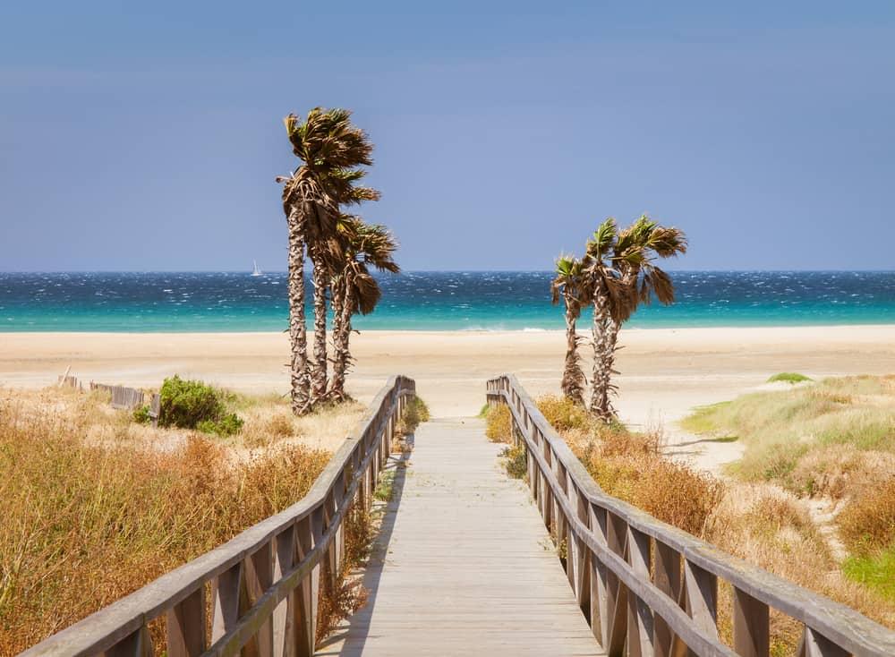 Beach los Lances, Tarifa, Andalusia, Spain, Europe. Tarifa is the south most City of Europe a a famous tourist destination