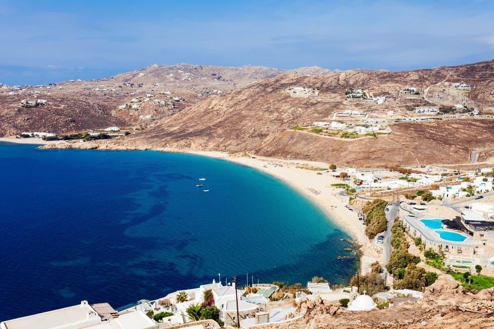 Elia Beach on the Mykonos island, Cyclades in Greece