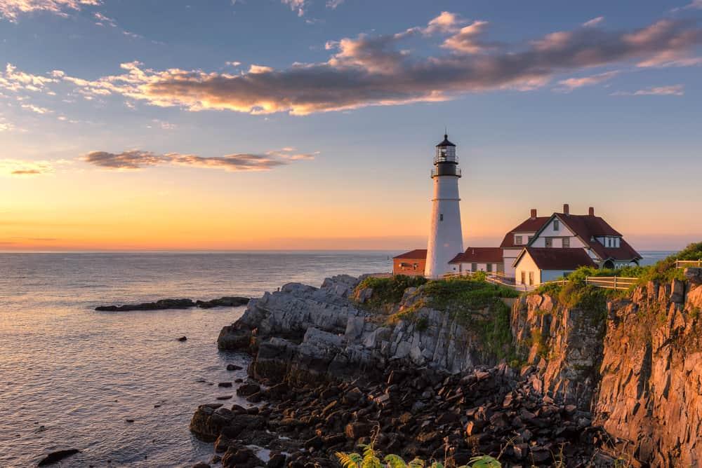 Portland Head Light at sunrise in Maine, New England.