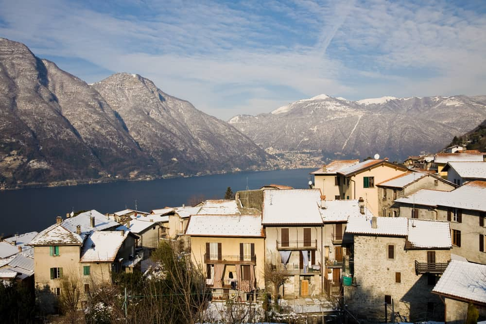 The town of Nesso on the Como Lake in the Lake District of Lombardy near Milan, Italy