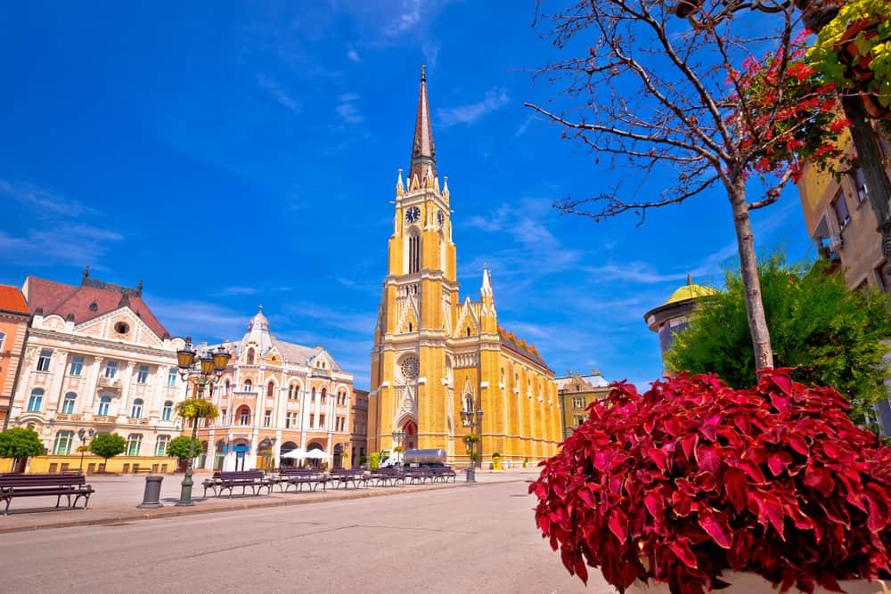 Freedom square and catholic cathedral in Novi Sad view, Vojvodina region of Serbia