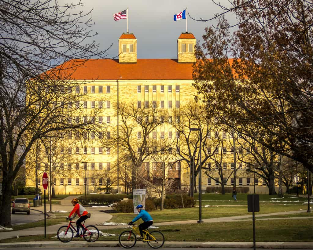 Biking on a Cold Winter Morning on the University of Kansas Campus in Lawrence, Kansas