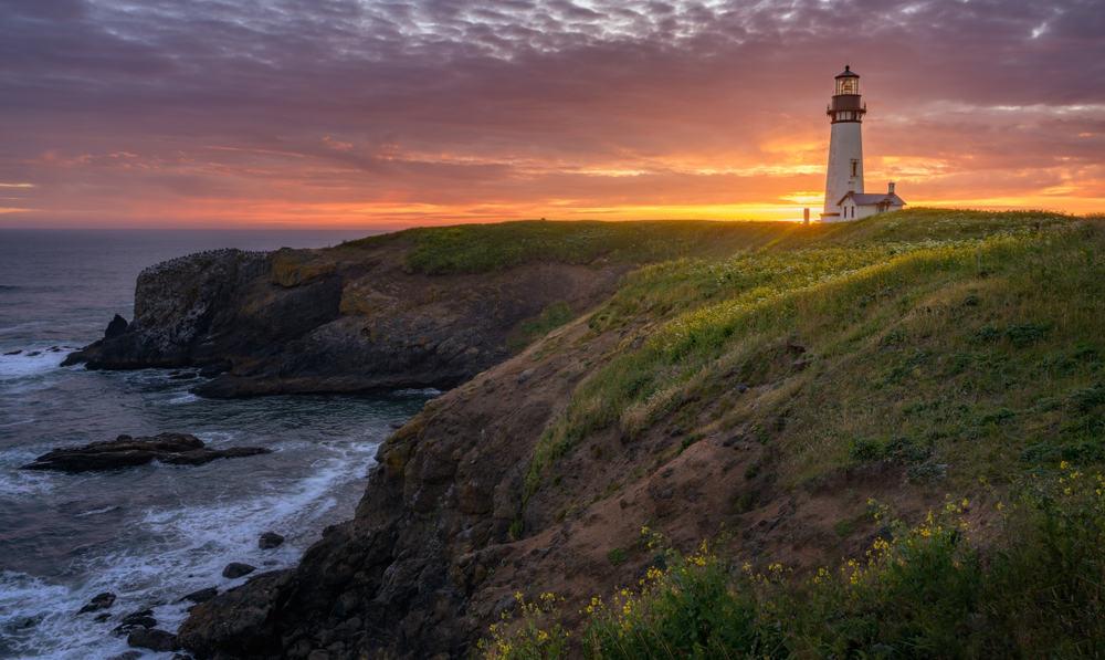 Yaquina Head Lighthouse with beautiful sunset