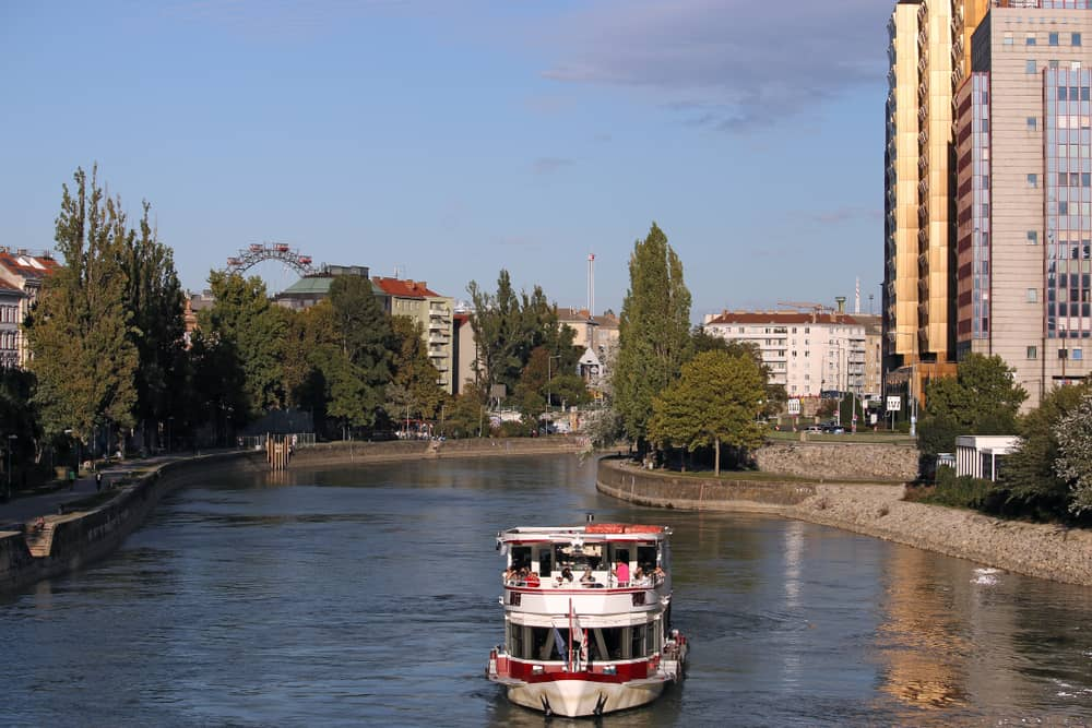 Tour ship on the Donaukanal Danube Canal Vienna Austria