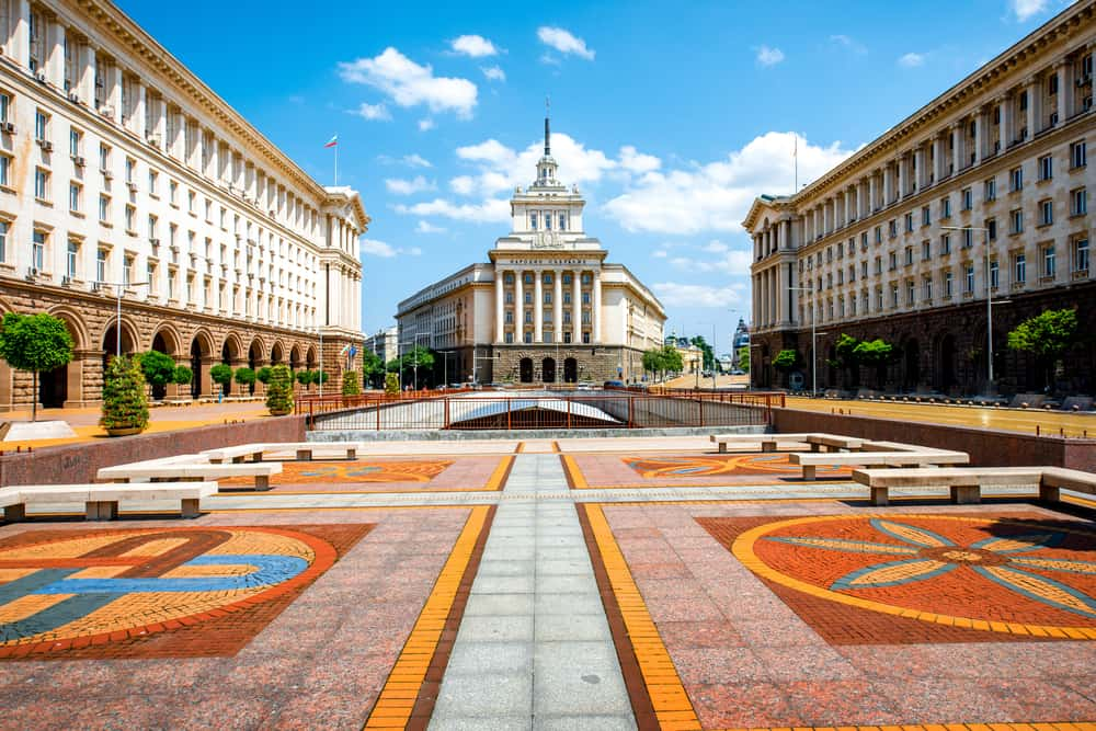 An architectural ensemble of three Socialist Classicism edifices in central Sofia, the capital of Bulgaria