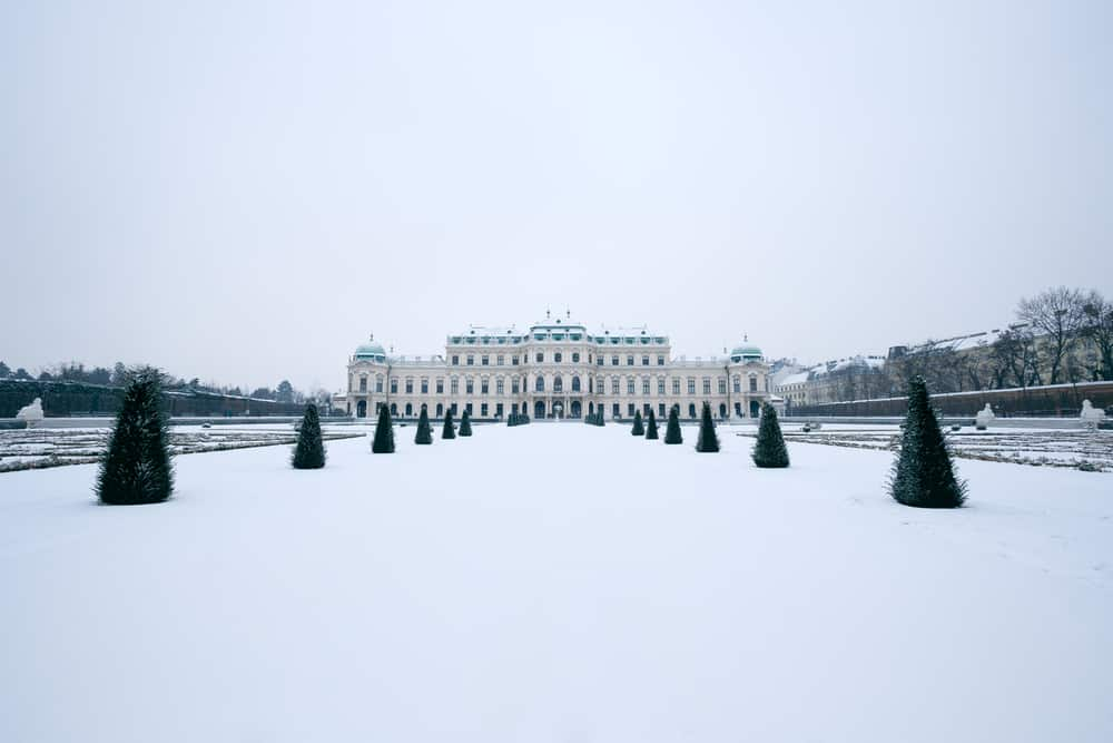The Belvedere palace of Vienna in winter time with snow covered park in front