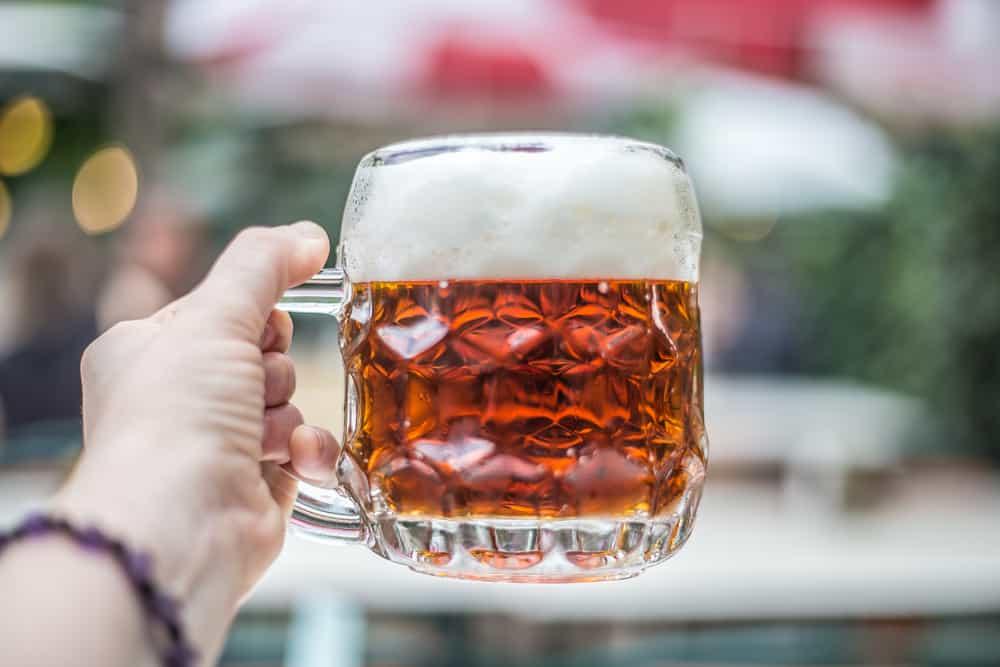 Vienna culture, Food & Drink in Vienna, Budweiser beer mug with Schweizerhaus as a background