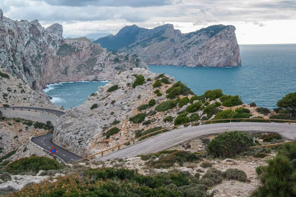 Spain - Mallorca - Lighthouse and Viewpoint Cap de Formentor. Tourist Attraction. Mallorca island coast in the evening. Mountain. Balears Islands. Landscape in the winter. Great scenery. Nice view