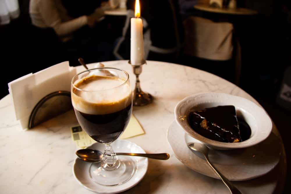 Italy - Milan - Chocolate heaven in Turin - sampling Bicerin, a traditional drink made of espresso, hot chocolate and milk with a peace of hazelnut cake topped with hot chocolate