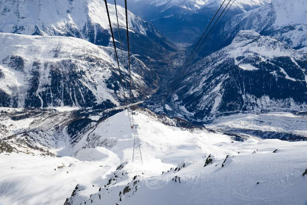 Italy - Milan - Skyway 360° Courmayeur - Italy winter season. Monte Bianco on the Italian side of Mont Blanc massif. Station intermedie connect city of Courmayeur to Pointe Helbronner 3,466 m