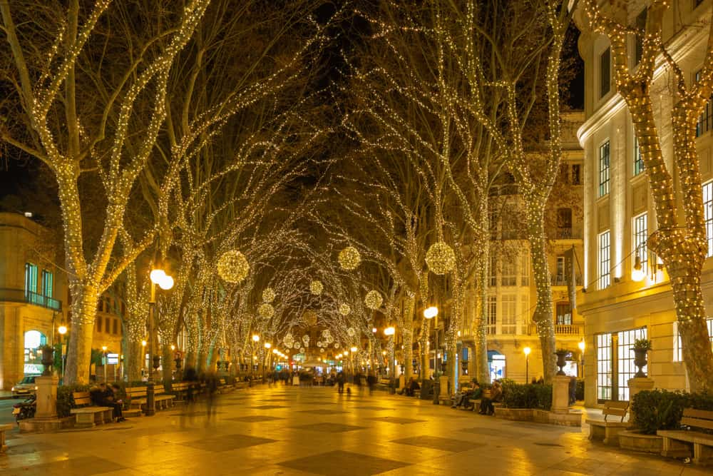 Spain - Mallorca - Palma de Mallroca - The christmas decoration on the street of old town.