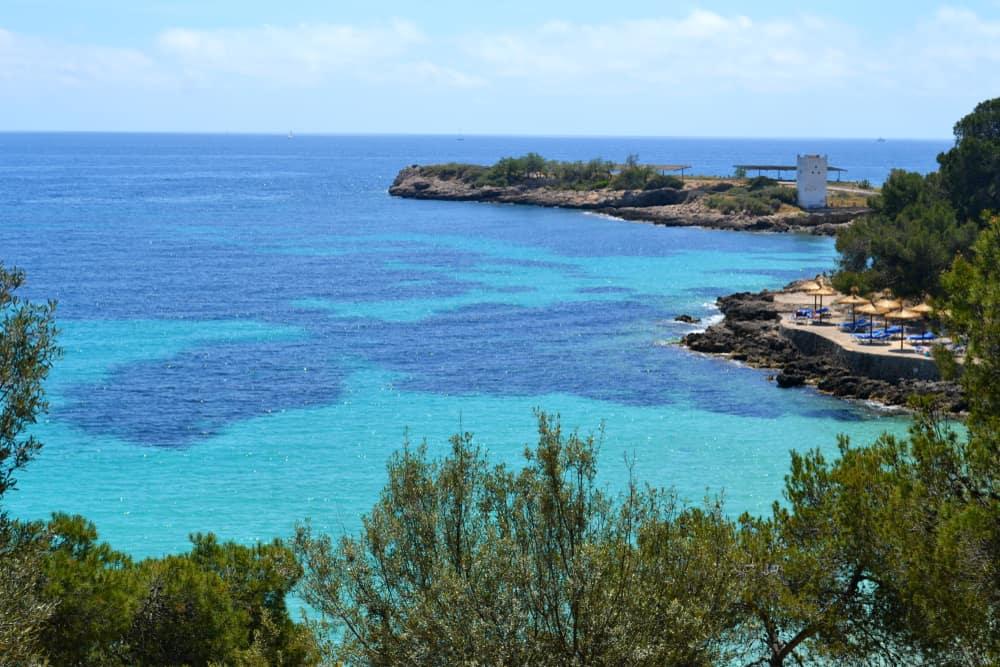 Spain - Mallorca - Beautiful beach in Palma de Mallorca in Spain. Winter vacation.