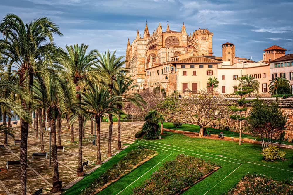 Spain - Mallorca - streets of palma de mallorca, spain, winter blue sky