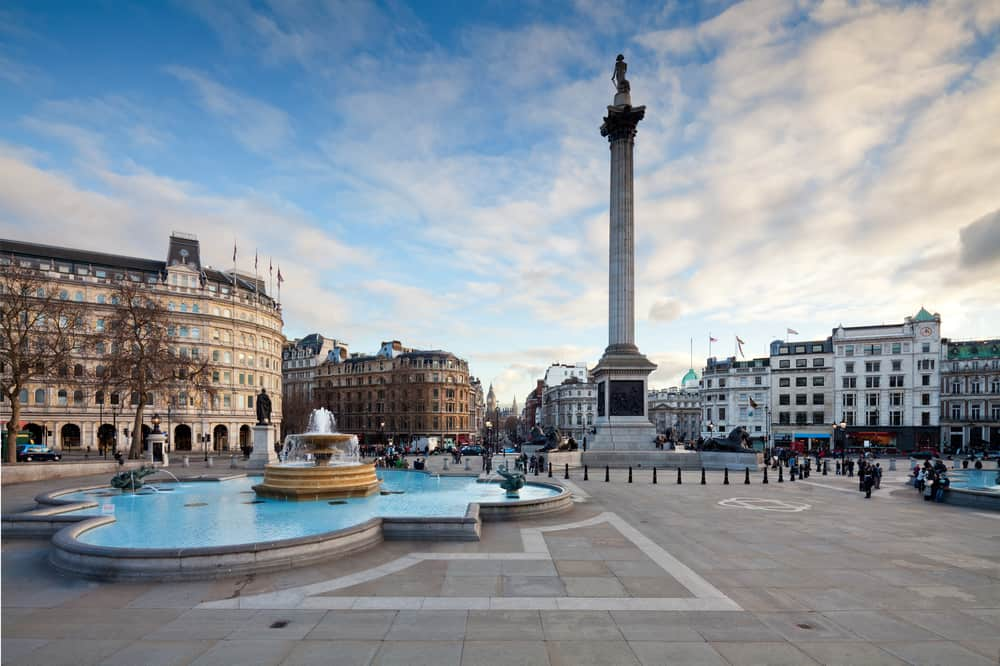 UK - England - Trafalgar Square is a public space and tourist attraction in central London. Landscape shot with tilt-shift lens maintaining verticals