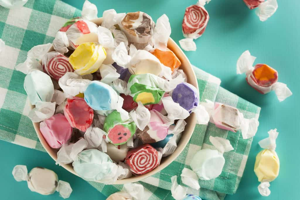 Assorted Sweet Saltwater Taffy on a Background