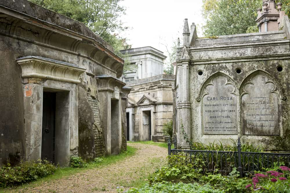 UK - England - Highgate Cemetery, Highgate, London. There are approximately 170,000 people buried in around 53,000 graves in Highgate Cemetery, notable for many of the people buried there inc. Karl Marx